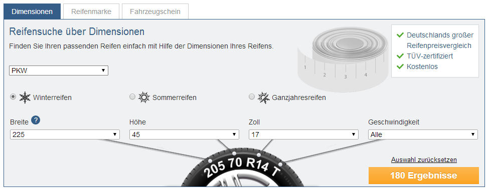 Über den Reifenkonfigurator von Reifen.de lassen sich alle wichtigen Kennzahlen für die Reifensuche eingeben.