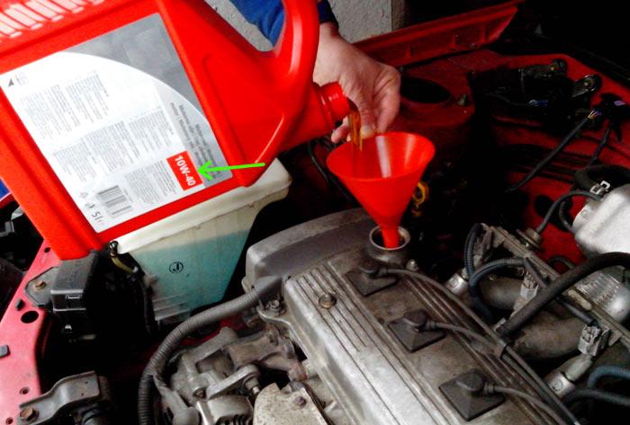 SAE-Viskositätsklasse auf einem Motorölbehälter