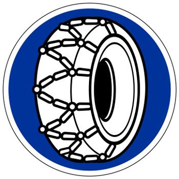 Verkehrszeichen 268 der StVO: Schneekettenpflicht