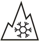 Bergpiktogramm mit Schneeflocke