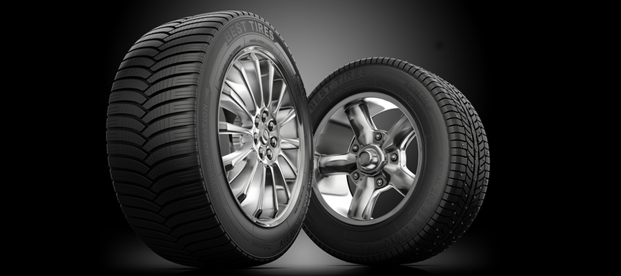 Tires on black background