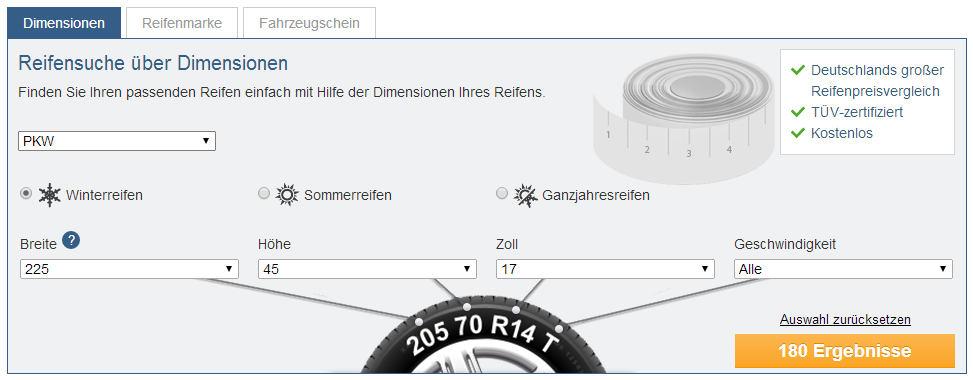 Mit der Online-Reifensuche von Reifen.de die passenden Reifen finden