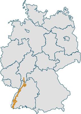 Streckenverlauf der Badischen Weinstraße