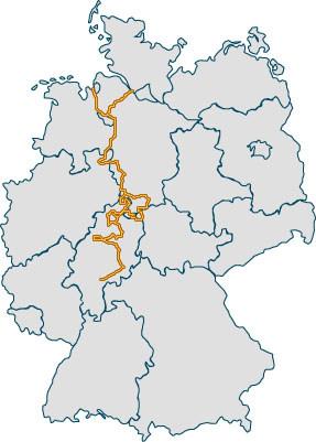 Verlauf der Deutschen Märchenstrasse